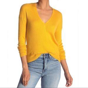 Elodie Nordstrom Mustard V-Neck Sweater Top S